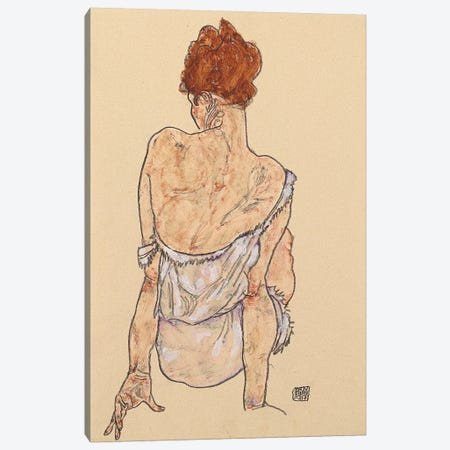 Seated woman in underwear, rear view, 1917  Canvas Print #BMN10182} by Egon Schiele Canvas Art