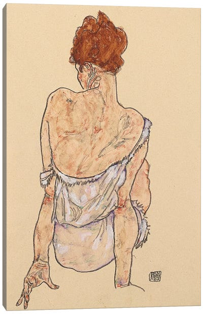 Seated woman in underwear, rear view, 1917  Canvas Art Print