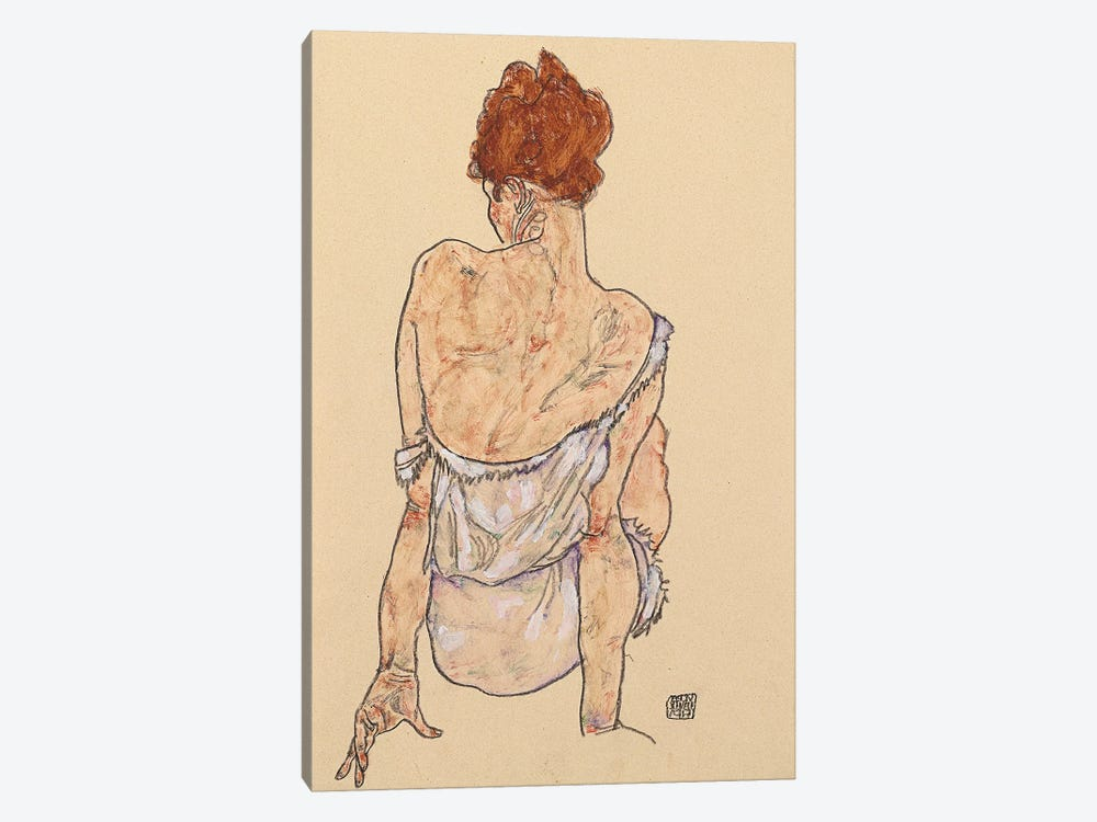 Seated woman in underwear, rear view, 1917  1-piece Canvas Art Print