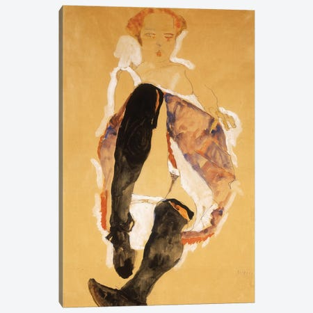 Seated woman with Black Stockings; Sitzendes Madchen mit Schwarzen Strumpfen, 1911  Canvas Print #BMN10183} by Egon Schiele Canvas Wall Art