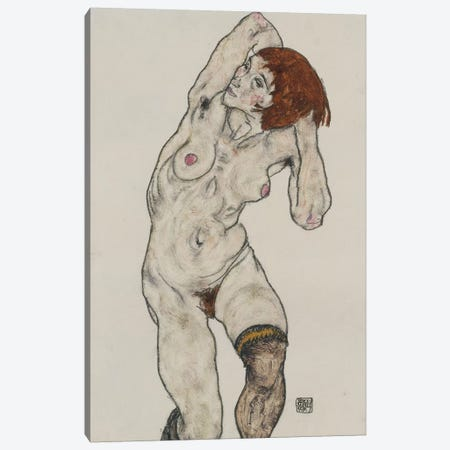 Standing Nude in Black Stockings, 1917  Canvas Print #BMN10185} by Egon Schiele Canvas Art Print