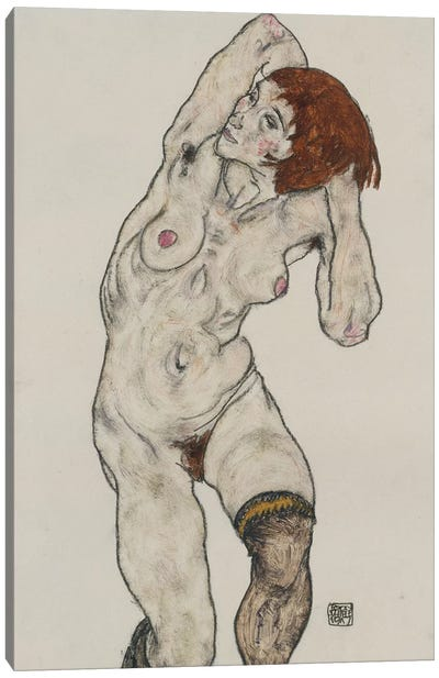 Standing Nude in Black Stockings, 1917  Canvas Art Print