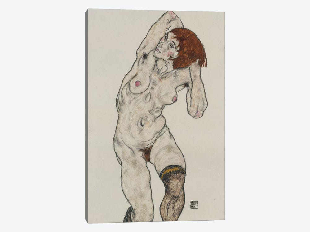 Standing Nude in Black Stockings, 1917  by Egon Schiele 1-piece Canvas Art
