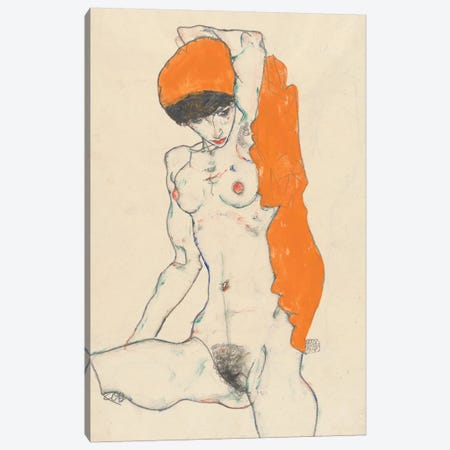 Standing Nude with Orange Drapery, 1914  Canvas Print #BMN10186} by Egon Schiele Canvas Art Print