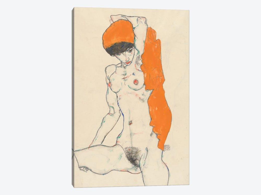 Standing Nude with Orange Drapery, 1914  by Egon Schiele 1-piece Art Print