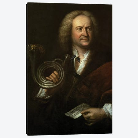 Gottfried Reiche , Senior Musician and Solo Trumpeter of Bach's Orchestra 3-Piece Canvas #BMN10194} by Elias Gottleib Haussmann Canvas Artwork
