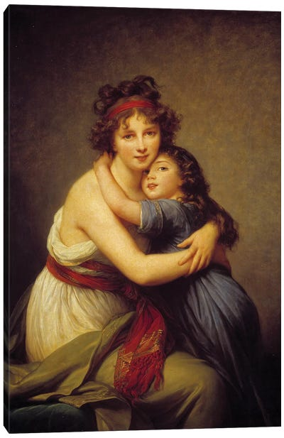 Portrait of Madame Vigee Lebrun and her daughter Jeanne-Lucie-Louise, known as Julie  Canvas Art Print