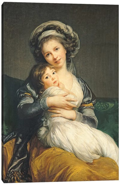 Self portrait in a Turban with her Child, 1786  Canvas Art Print