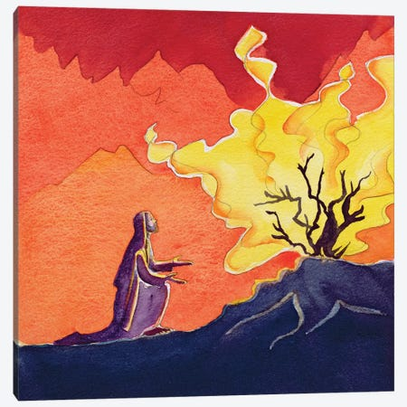 God speaks to Moses from the burning bush, 2004  Canvas Print #BMN10202} by Elizabeth Wang Art Print