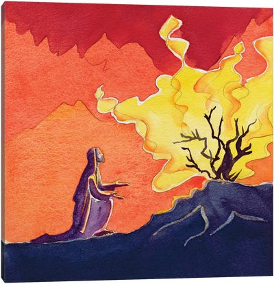 God speaks to Moses from the burning bush, 2004  Canvas Art Print