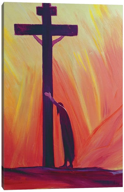 In our sufferings we can lean on the Cross by trusting in Christ's love, 1993  Canvas Art Print