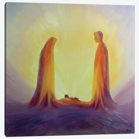 Mary and Joseph look with faith on the child Jesus at his Nativity, 1995  Canvas Print #BMN10206} by Elizabeth Wang Canvas Art