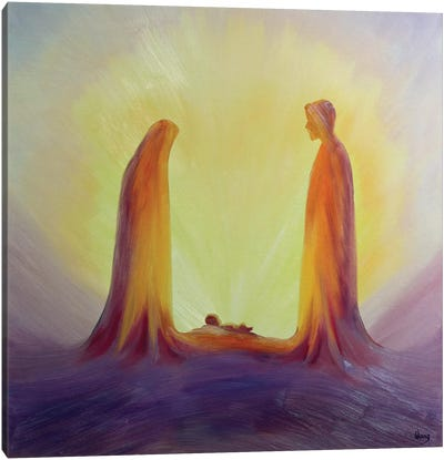 Mary and Joseph look with faith on the child Jesus at his Nativity, 1995  Canvas Art Print