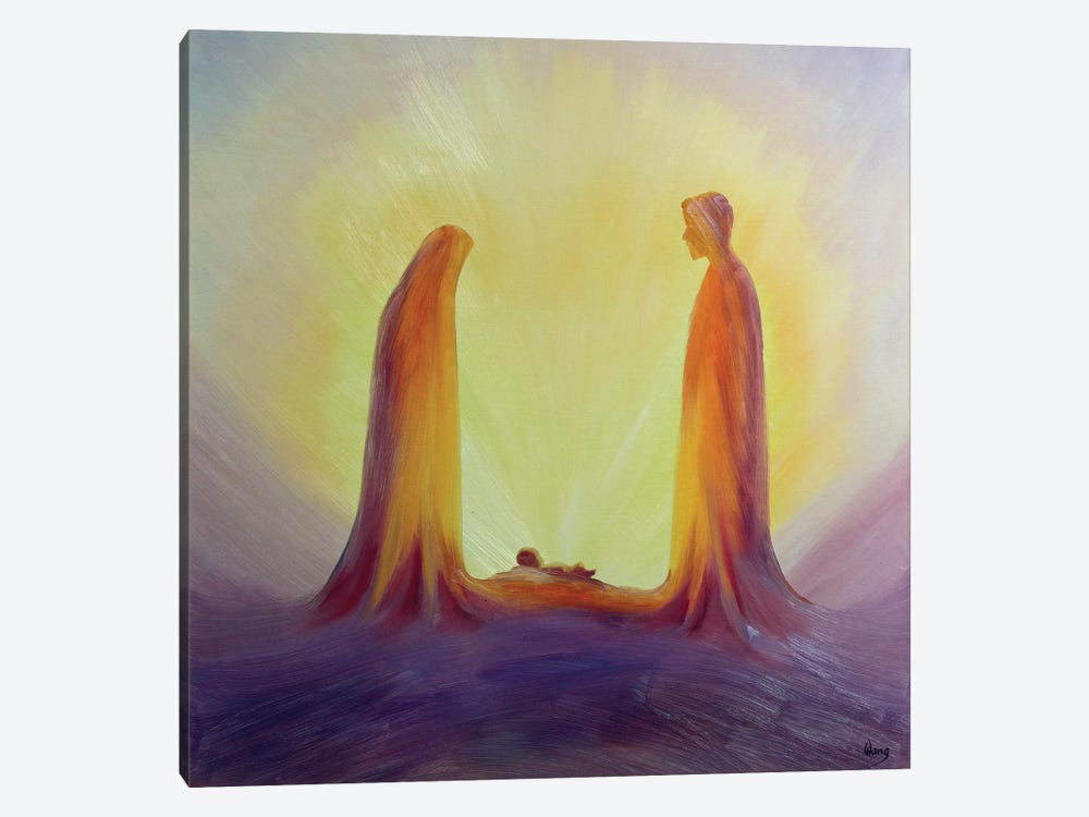 Mary and Joseph look with faith on the child Jesus at his Nativity, 1995  by Elizabeth Wang 1-piece Canvas Art Print