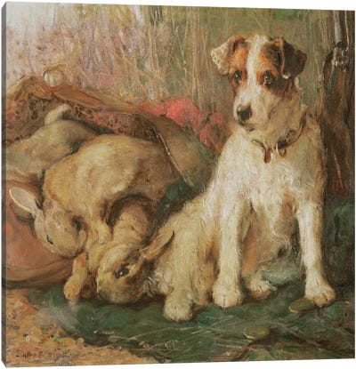 Fox Terrier with the Day's Bag Canvas Art Print