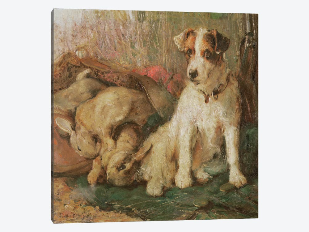 Fox Terrier with the Day's Bag by English School 1-piece Canvas Art Print