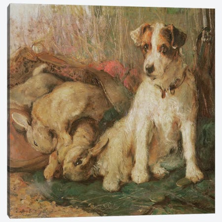 Fox Terrier with the Day's Bag Canvas Print #BMN1020} by English School Canvas Artwork