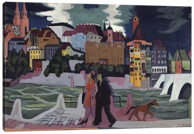 View of Basel and the Rhine, 1927-28  Canvas Art Print