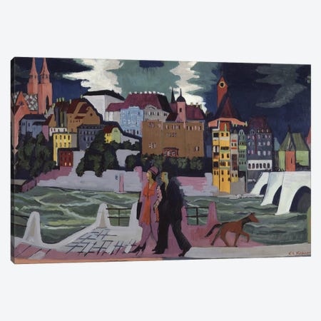 View of Basel and the Rhine, 1927-28  Canvas Print #BMN10225} by Ernst Ludwig Kirchner Canvas Art