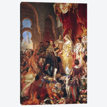 The Reception of Christopher Columbus  by Ferdinand II  of Aragon and Isabella  of Castille  Canvas Print #BMN10229} by Eugene Deveria Art Print
