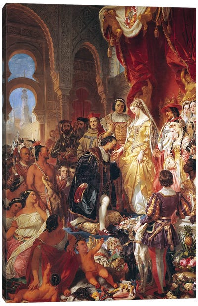 The Reception of Christopher Columbus  by Ferdinand II  of Aragon and Isabella  of Castille  Canvas Art Print