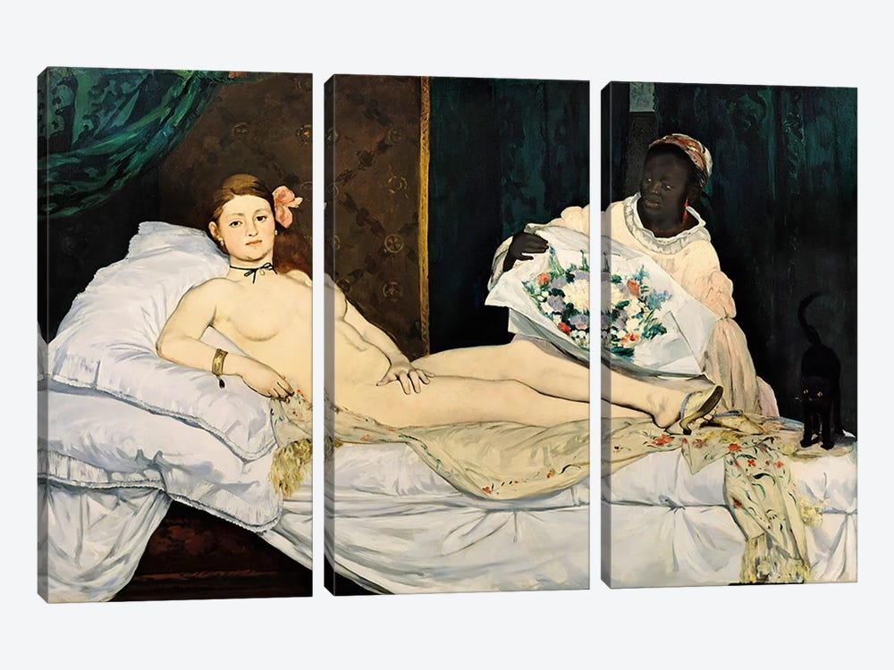 Olympia, 1863 by Edouard Manet 3-piece Canvas Art Print