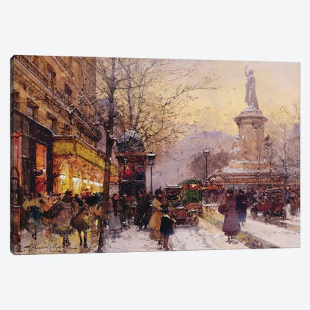 Winter Paris street scene  Canvas Print #BMN10232} by Eugene Galien-Laloue Canvas Artwork