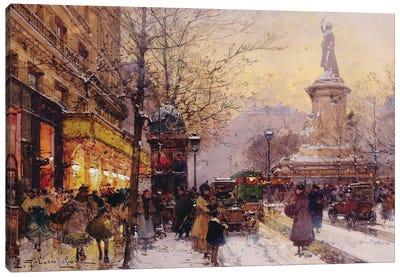 Winter Paris street scene  Canvas Art Print