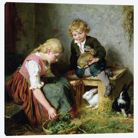Feeding the Rabbits  Canvas Print #BMN10233} by Felix Schlesinger Canvas Artwork