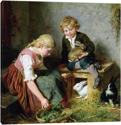 Feeding the Rabbits  Canvas Art Print