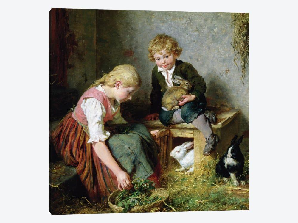 Feeding the Rabbits  by Felix Schlesinger 1-piece Art Print