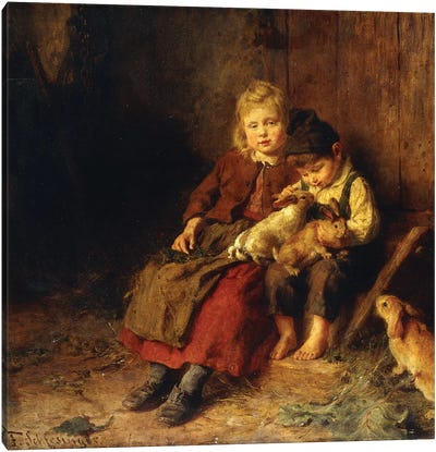 Two Children Playing with Rabbits,  Canvas Art Print