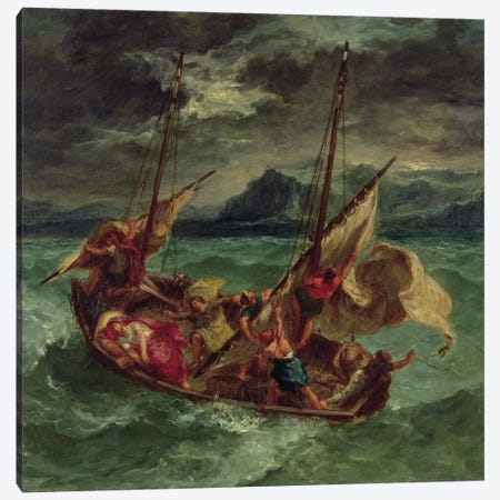 Christ on the Sea of Galilee, 1854  Canvas Print #BMN10237} by Ferdinand Victor Eugene Delacroix Canvas Art Print
