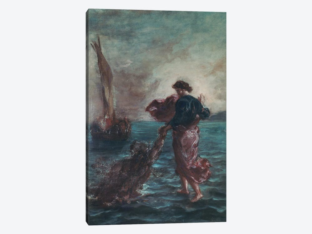 Christ walking on water and reaching out his hand to save Saint Peter  by Ferdinand Victor Eugene Delacroix 1-piece Canvas Wall Art