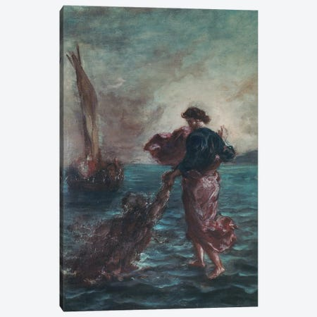 Christ walking on water and reaching out his hand to save Saint Peter  Canvas Print #BMN10238} by Ferdinand Victor Eugene Delacroix Canvas Art