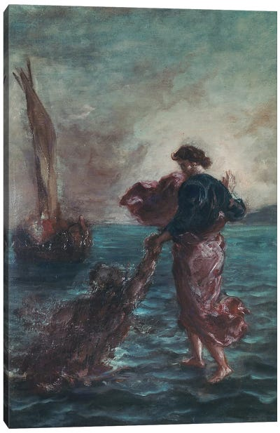 Christ walking on water and reaching out his hand to save Saint Peter  Canvas Art Print
