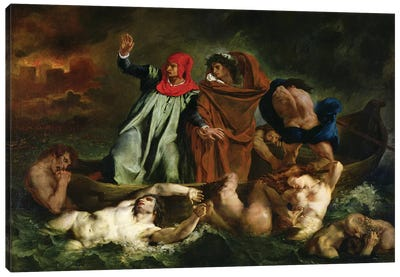 Dante  and Virgil  in the Underworld, 1822  Canvas Art Print