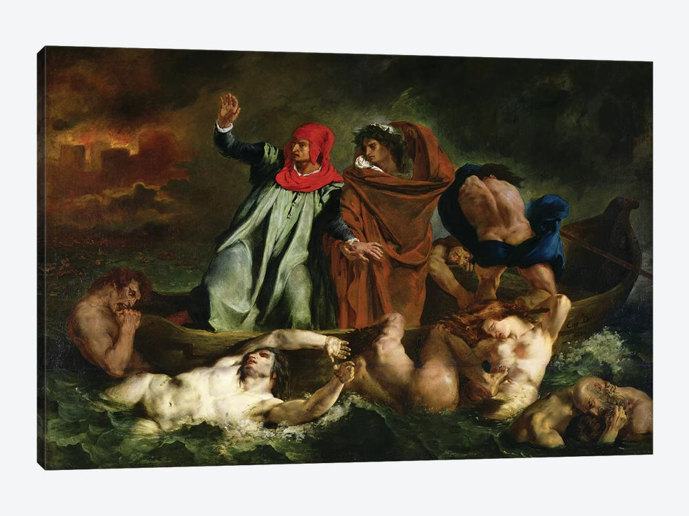 Dante  and Virgil  in the Underworld, 1822  by Ferdinand Victor Eugene Delacroix 1-piece Canvas Print