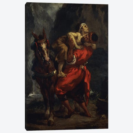 The Good Samaritan,  Canvas Print #BMN10243} by Ferdinand Victor Eugene Delacroix Canvas Art Print