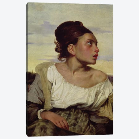 Young Orphan in the Cemetery, 1824  Canvas Print #BMN10245} by Ferdinand Victor Eugene Delacroix Canvas Artwork