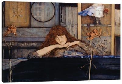 I lock my door upon myself, by Fernand Khnopff , oil on canvas, 72x140 cm, 1891 Canvas Art Print