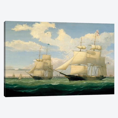 The Ships 'Winged Arrow' and 'Southern Cross' in Boston Harbour, 1853  Canvas Print #BMN10251} by Fitz Henry Lane Canvas Wall Art