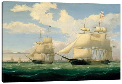 The Ships 'Winged Arrow' and 'Southern Cross' in Boston Harbour, 1853  Canvas Art Print