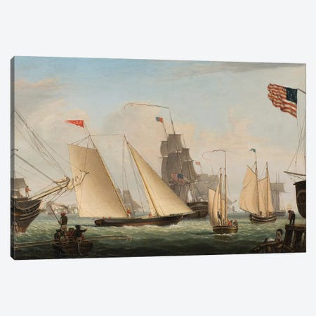 Yacht 'Northern Light' in Boston Harbor, 1845  Canvas Print #BMN10253} by Fitz Henry Lane Canvas Art