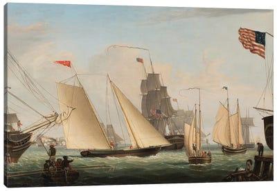 Yacht 'Northern Light' in Boston Harbor, 1845  Canvas Art Print