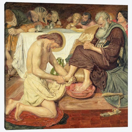 Jesus Washing Peter's Feet, 1876  Canvas Print #BMN10256} by Ford Madox Brown Art Print