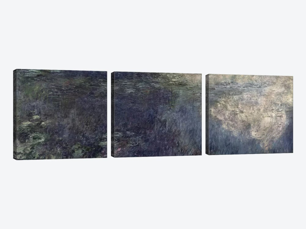 Waterlilies - The Clouds  by Claude Monet 3-piece Canvas Art
