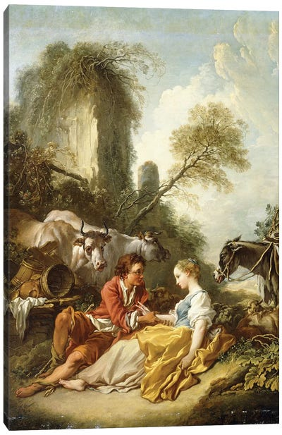 A Pastoral Landscape with a Shepherd and Shepherdess seated by Ruins,  Canvas Art Print