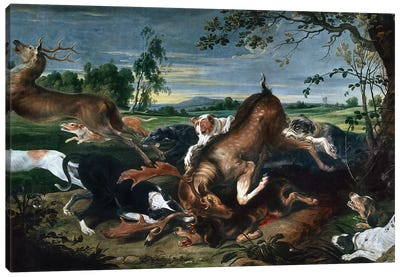 Hunting deer, by Frans Snyders , oil on canvas, 220x420 cm. Canvas Art Print