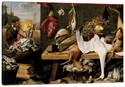 Market Scene on a Quay, c.1635-1640  Canvas Art Print